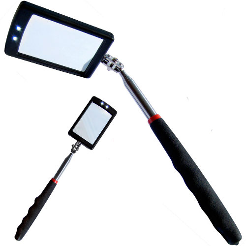 Telescopic Inspection Mirror With 2 Bright LEDs Extends 29-87cm