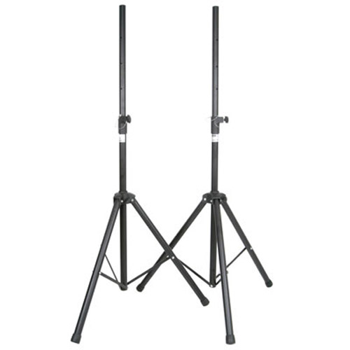 Set Of 2 Steel Speaker Tripod Stands With Adjustable Height