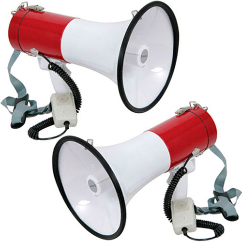 Set Of 2 Powerful 30w Loud Megaphones With Siren Function