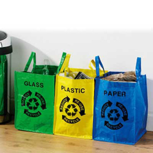 3 Fashionable Recycling Bags / Bins - Paper, Glass, Plastic