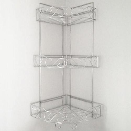 3 tier triple corner shelf caddy basket kitchen or bathroom