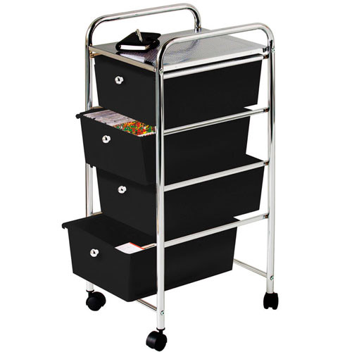4 Drawer Chrome Finish Office, Salon, Bathroom Storage Trolley