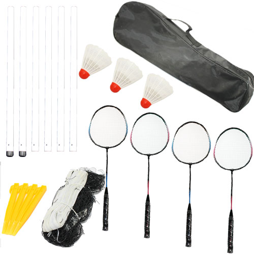 Professional 4 Player Badminton Game Set - 4 Rackets Net & Poles