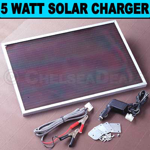 Solar 12V 5 W BATTERY CHARGER PANEL CAR BOAT CARAVAN