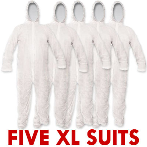 5 Disposable Paper Suit Overalls - XL