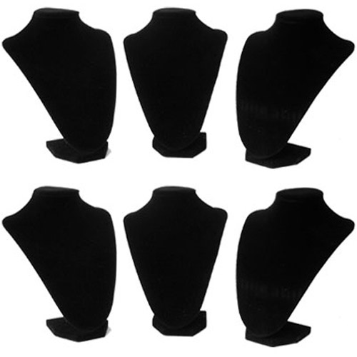 Black Luxury Velvet Jewellery Busts - 6 Pack