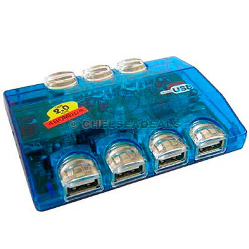 7 Port USB 2.0 Hub with Power and LED Lights
