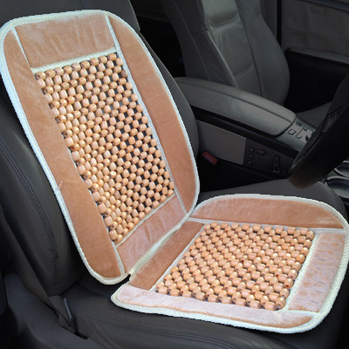 Wooden Bead Massaging Car & Van Bead Seat Cover - Beige