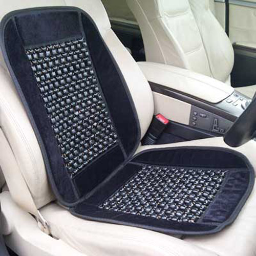 Wooden Bead Massaging Car & Van Bead Seat Cover - Black