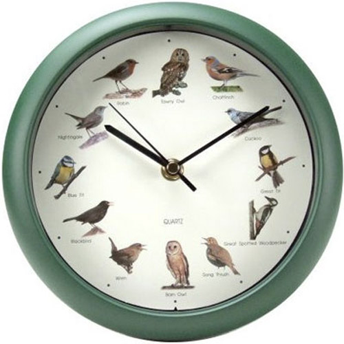 Singing Bird Sound Wall Clock - Green Frame -12 Different Birds