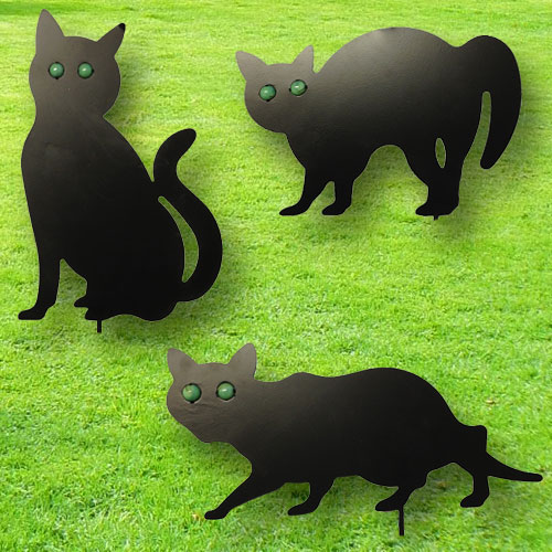 Set of 3 Garden Scare Cats - Pest Control Scarecrow Deterrent