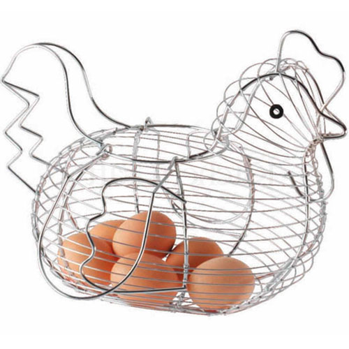 Chrome Plated Chicken Shaped Wire Egg Storage Basket Holder Rack