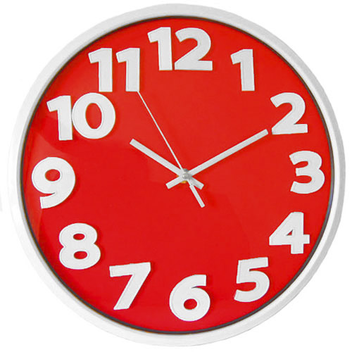 Big Number Classic Large Home Office Wall Clock - Red