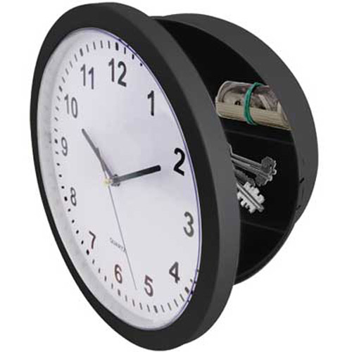 Black Wall Clock With Secret Safe Compartment For Cash, Keys Etc