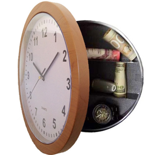Wall Clock With Secret Safe Compartment - Wood Effect Frame