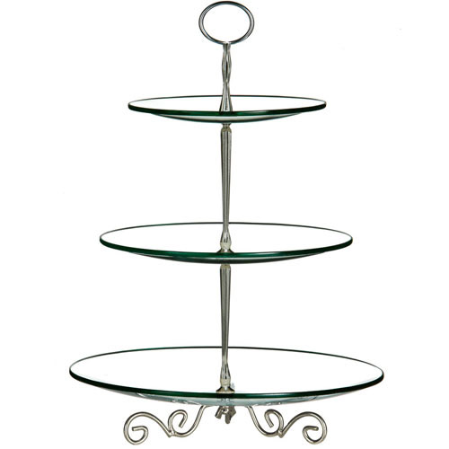 3 Tier Modern Style Glass Wedding Party Cup Cake Display Stand
