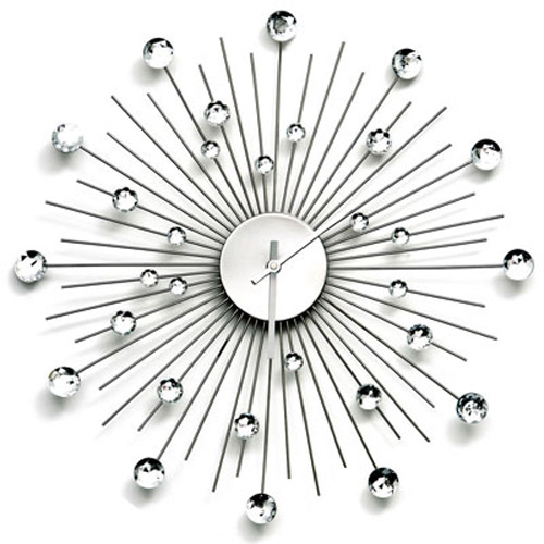 Diamante Design Glamour Hanging Wall Clock