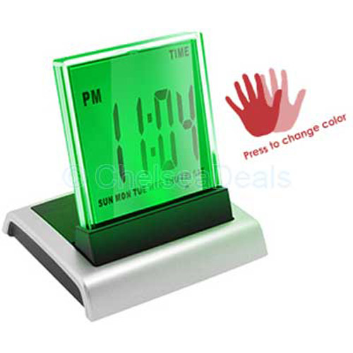 Touch Color LCD LED Alarm Desktop Clock Temperature Gift