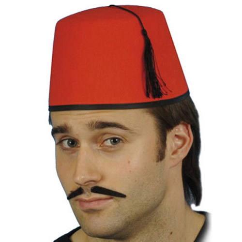 Felt Fancy Dress Fez Hat - With Black Tassle & Trim