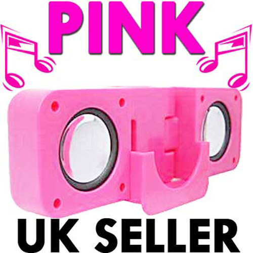 Cute Pink Foldable USB Travel Speakers For iPod Nano, Classic, S