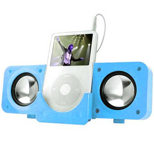 BLUE FOLDING USB TRAVEL SPEAKERS For IPOD Nano, Video, Mini