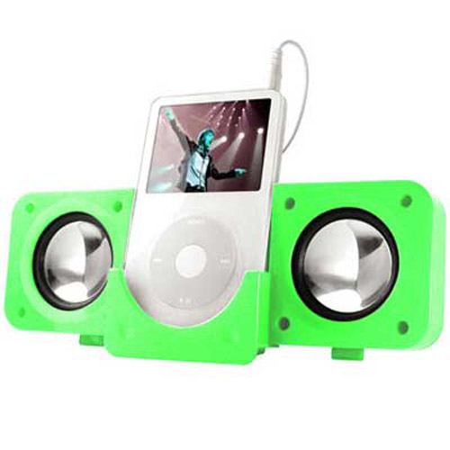GREEN FOLDING USB TRAVEL SPEAKERS For IPOD Nano, Video, Mini