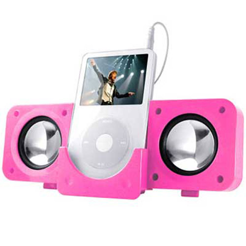 PINK FOLDING USB TRAVEL SPEAKERS For IPOD Nano, Video, Mini