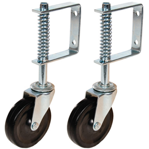 Set Of 2 100mm Gate Castor Swivel Spring-Loaded Wheel - 57Kg
