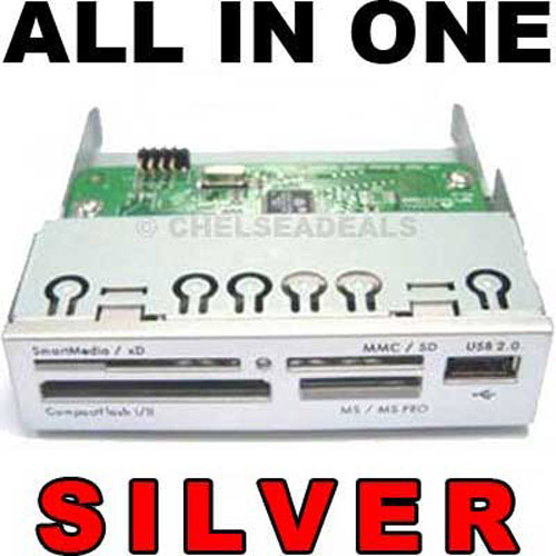 "ALL-IN-ONE Internal 3.5"" Memory Card Reader USB 2.0 - Silver"
