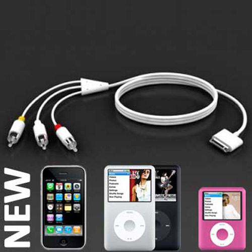 AV RCA Cable for the Apple iPhone, Nano 3G & Classic