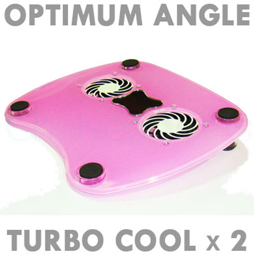 Laptop Stand with 2 Cooling Fans - Pink
