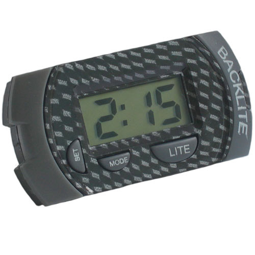 Carbon Fibre Style Mini Digital Motorcycle Car Clock + Batteries