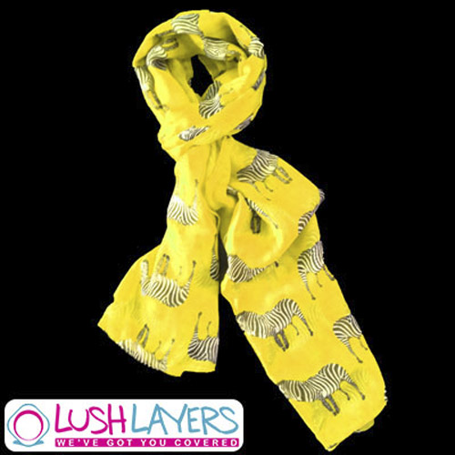 Lush Layers Large Zebra Print Shawl Scarf - Yellow