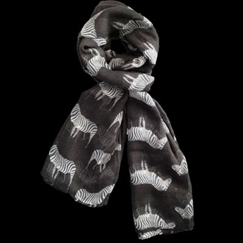Lush Layers Large Zebra Print Shawl Scarf - Black