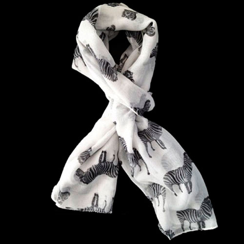 Lush Layers Large Zebra Print Shawl Scarf - White