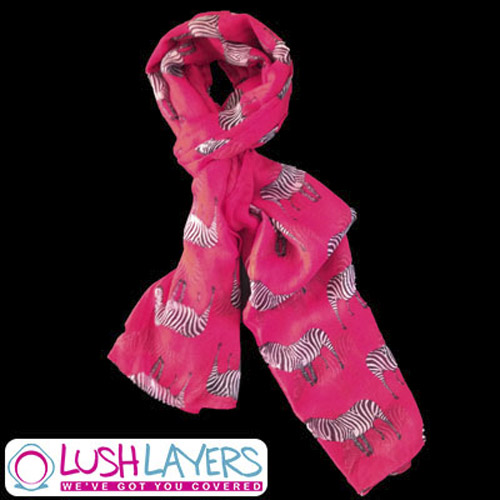 Lush Layers Large Zebra Print Shawl Scarf - Hot Pink