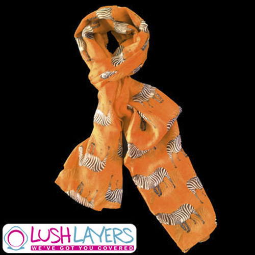 Lush Layers Large Zebra Print Shawl Scarf - Dark Peach / Orange