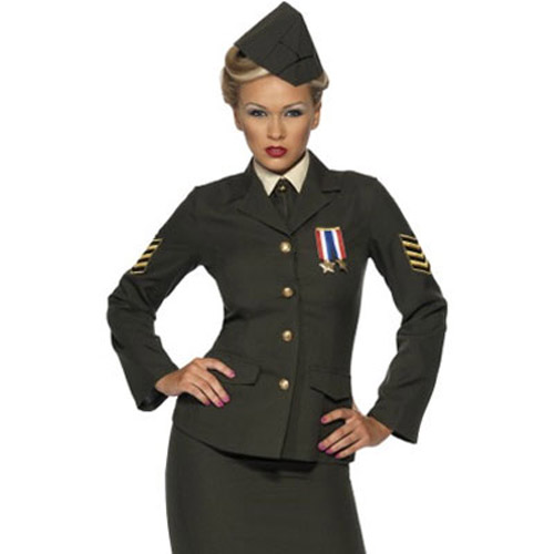 6 Piece 1940s Army Wartime Officer Fancy Dress Costume - Large