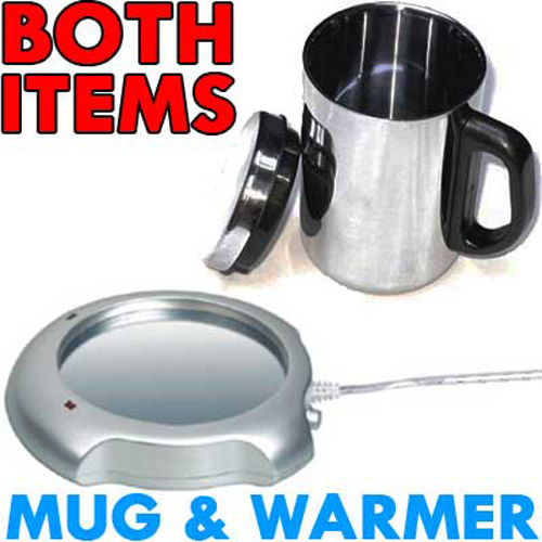 USB Coffee Cup Warmer with Insulated Steel Mug Included