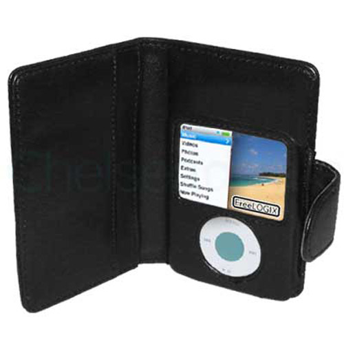 Apple iPod Nano Folio Leather Wallet Case - Black