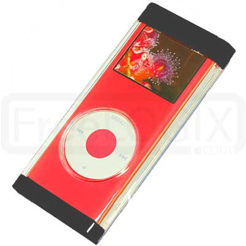 iPod Nano 2ND Gen Flip Top Crystal Case with Lanyard - Black