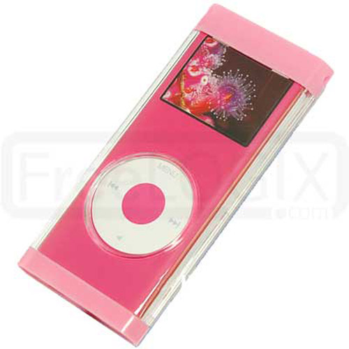 iPod Nano 2ND Gen Flip Top Crystal Case with Lanyard - Pink