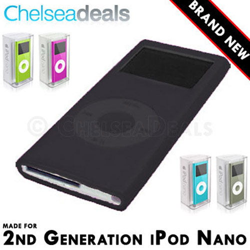 iPod NANO 2G 2nd GENERATION Silicone Tube Skin Case - Black