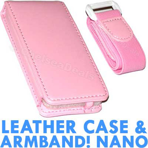 Executive iPod Nano Leather Case with Armband - Pink