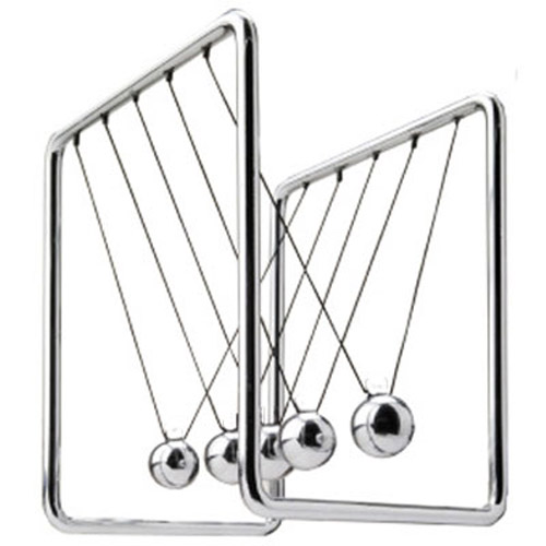 Newton's Cradle Held On Chrome Frame