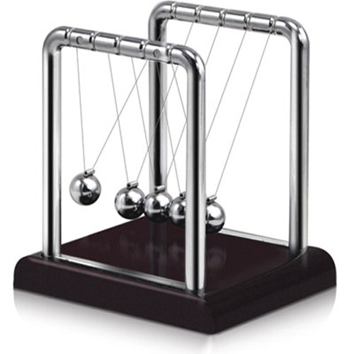 Elegant Desktop Newtons Cradle Toy - Red Base