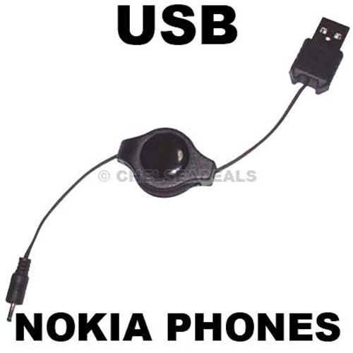 Nokia Phone USB Retractable Charger - New Small Size