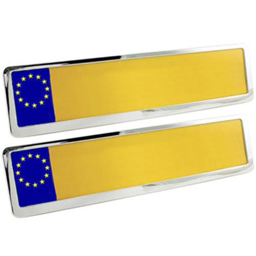 Set Of 2 Chrome Finish Universal UK Car Number Plate Holders