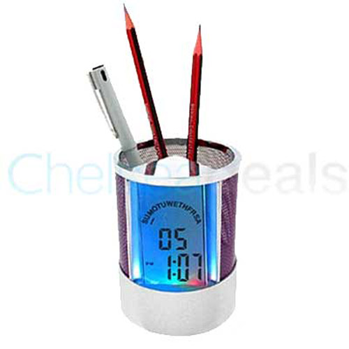 Pen Holder Colour Changing LCD Clock