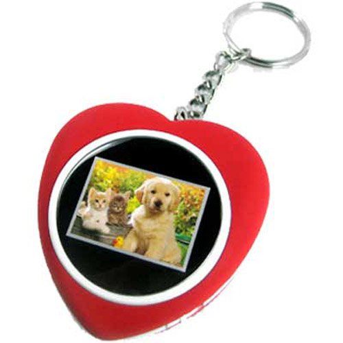 "1.1"" LCD Photo Keychain/Keyring Heart Shape (Full Colour)"